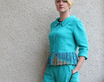 Eco friendly turquoise linen jacket
