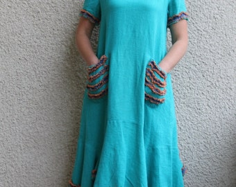 Eco friendly turquoise linen dress - tunic