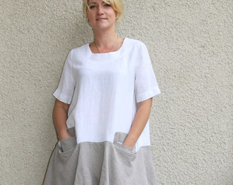 Eco friendly linen white - natural washed tunic
