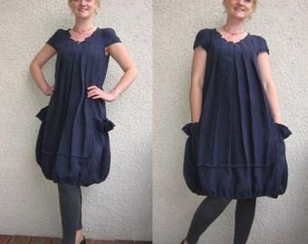 Eco friendly dark blue  linen dress - tunic