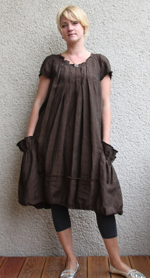 Eco friendly brown  linen dress - tunic