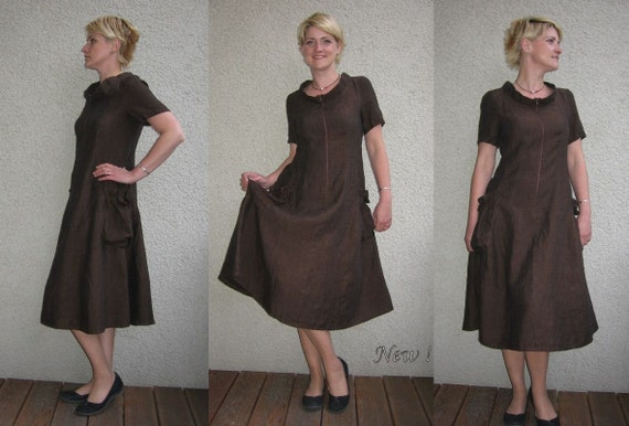 Eco friendly brown linen dress