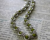 Half Byzantine Plus One Chainmaille Necklace with Light Green Gemstones and Matching Earrings for JVCOM