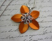 Chainmaille Scales Flower Pendants, Your Choice of Color