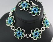 Japanese Flower Chainmaille Bracelet and Earrings Set in Blue and Green