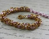 Byzantine Chainmailled Bracelet in Pink and Gold