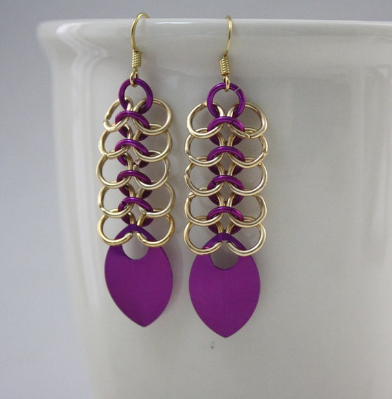 Gold and Violet European Mesh Chainmaille Earrings with Scales