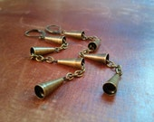 Tiny Cone Antique Brass Chain Earrings
