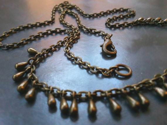 Antique Brass Droplet Chain Necklace