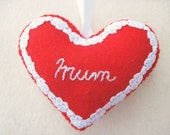 Felt MUM Love Heart Birthday Mother's Day Mothering Sunday Hanging Ornament Decoration Red