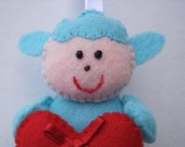 Felt LAMB SHEEP with love heart handmade hanging animal doll ornament decoration Valentines spring Easter Christmas Blue Red