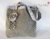 Crocheted Bag Tote Wool Grey Taupe with Vintage French Inspired Print Lining