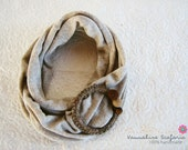 Beige Infinity Scarf with Crochet Ring, Felt Beads and Gemstone