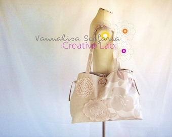 Fabric tote bag fabric handbags crochet doilies