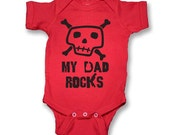 My Dad Rocks Skull  Baby Onesie