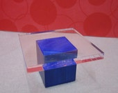 1:12 or 1/6th scale miniature dollhouse cobalt blue modern wood and acrylic side table