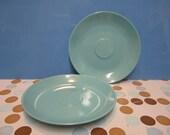 Pair of  Prolon Florence turquoise/aqua melamine retro vintage saucers