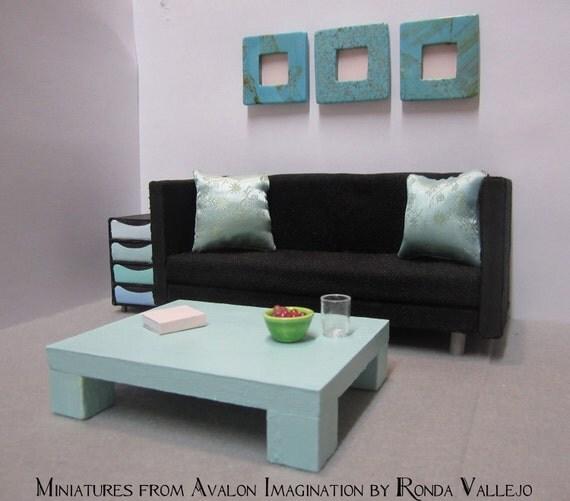 1:12 Scale Aqua Modern Dollhouse Coffee Table