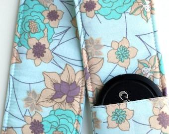 DSLR Camera Strap Cover - Padding and Lens Cap Pocket - Blue Orange Floral