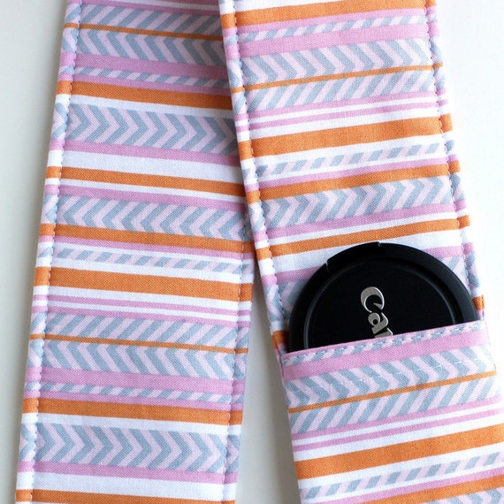 DSLR Camera Strap Cover - Padding and Lens Cap Pocket -  Chevron Pink Orange Grey Stripe