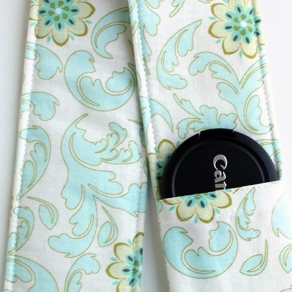 DSLR Camera Strap Cover - Padding and Lens Cap Pocket - Blue Cream Floral Damask