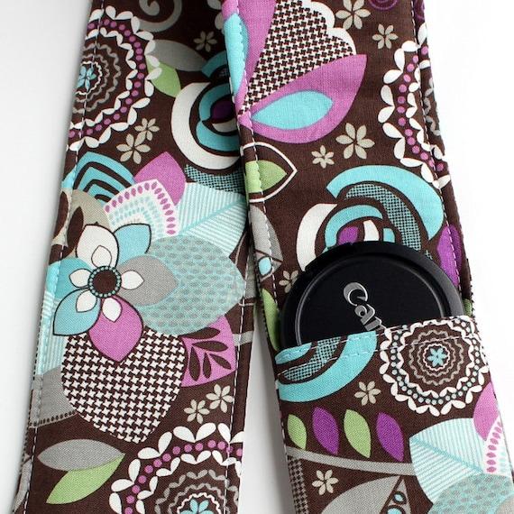 DSLR Camera Strap Cover - Padding and Lens Cap Pocket -  Floral Brown Purple Blue