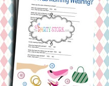 Fun Baby Shower Games, What was Mommy Wearing, PRINTABLE Game by The Party Stork, Download NOW