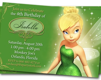 Tinkerbell Invitations, Tinkerbell Party Invite, Printable Tinkerbell Birthday Party Invitation
