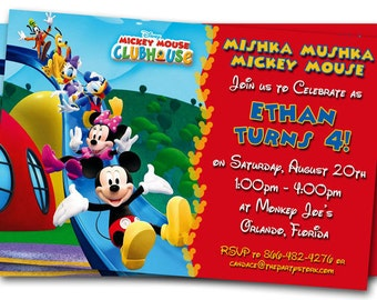 Mickey Mouse Clubhouse Invitations: Printable Personalized Cartoon Birthday Party Invites YOU PRINT