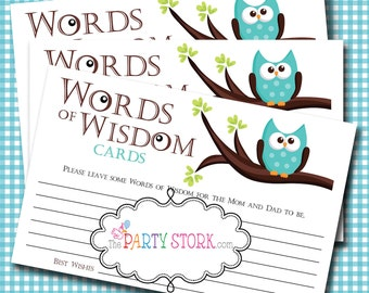 Words of Wisdom Advice Cards, Owl Baby Shower Games, Baby Advice Card, Printable Baby Shower Game, Owl Words of Wisdom Instant Download