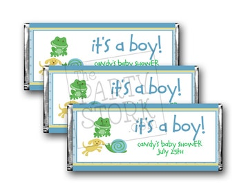 Frogs, Snails and Puppy Dog Tails, Candy Bar Wrappers, Printable Baby Shower Favor, Matching Invitation Available and More, DIY, YOU PRINT