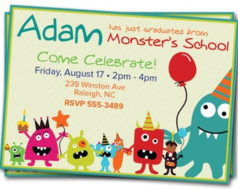 Monster Birthday Party Invitations: Printable Kids Invitation, Boy or Girl Invite, Personalized