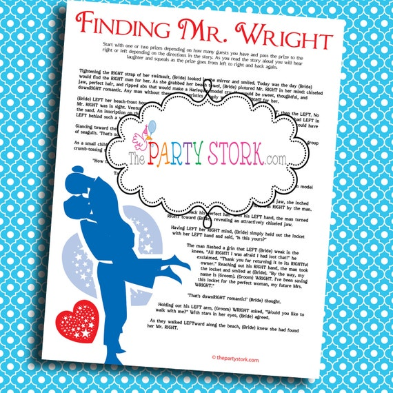 Bridal Shower Games: Printable Finding Mr. Right Game Many