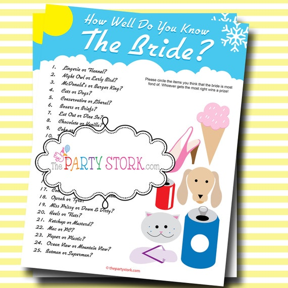 Who Knows The Bride Best Bridal Shower Game: Printable Many
