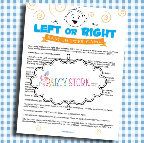 printable baby shower game left or right game unique fun boy girl