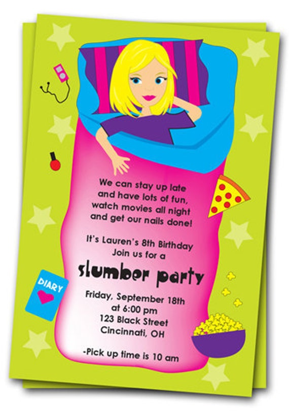 Slumber Party Birthday Invitations: Printable Girls Sleepover