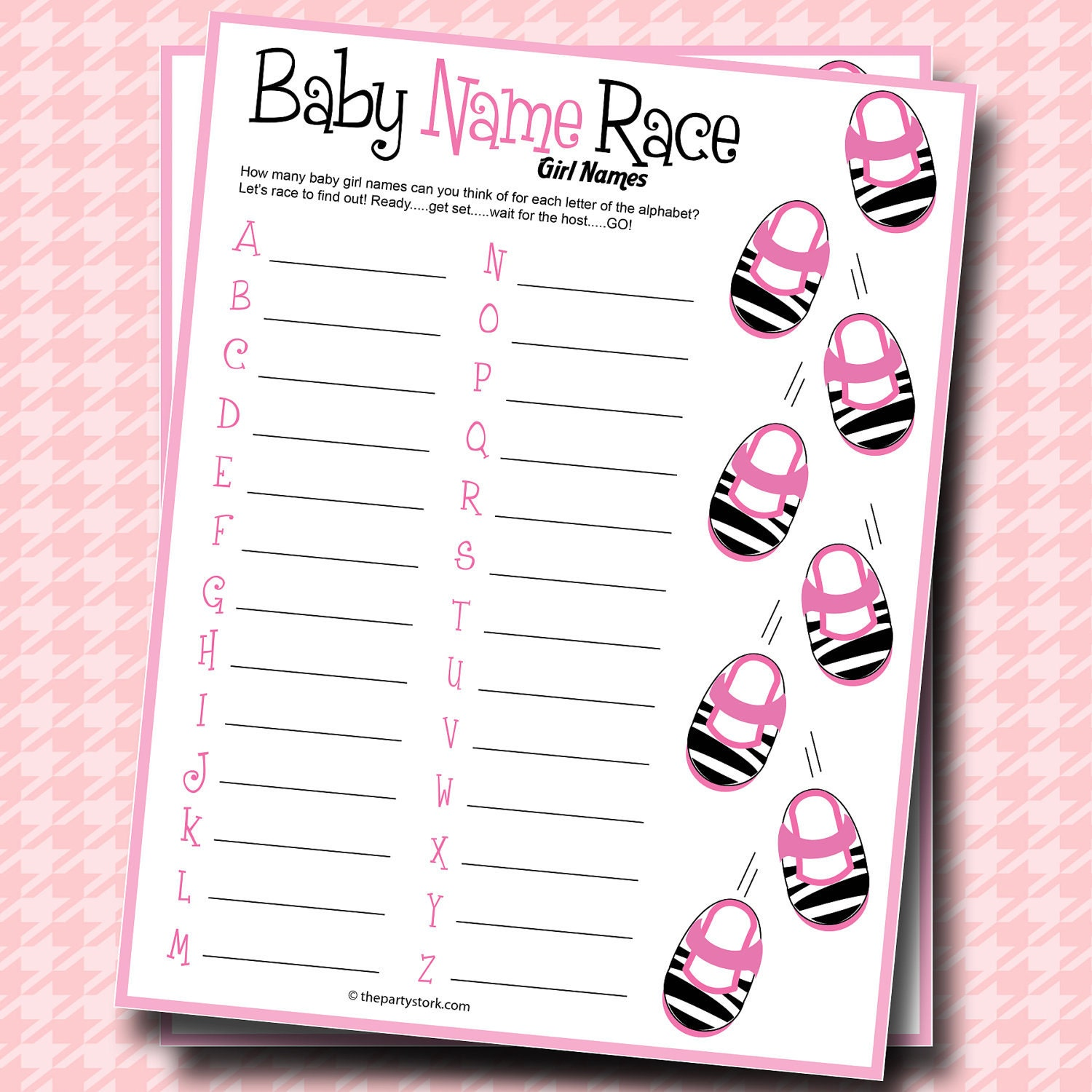 Baby name race baby shower game girl zebra theme printable for Bathroom designs games