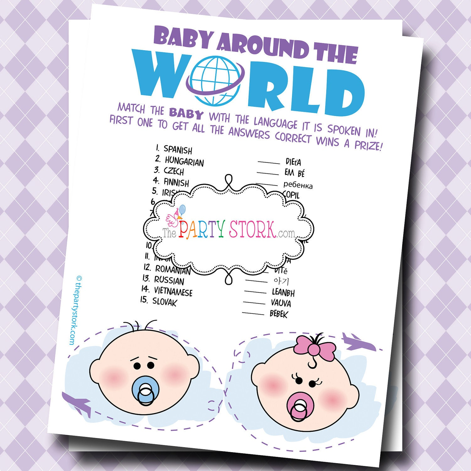 New INSTANT Baby DOWNLOAD Games: Digital Printable Shower Baby 874