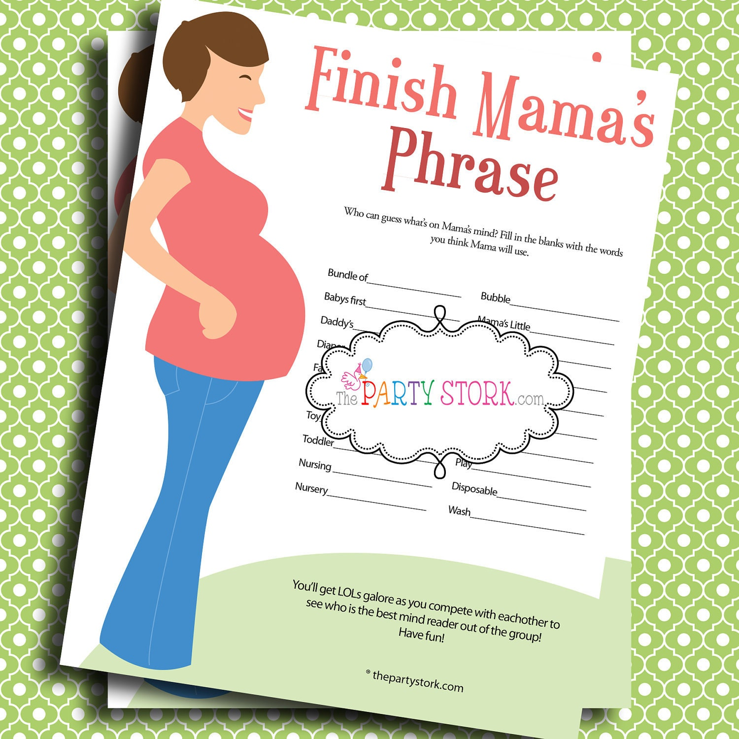 Baby Shower Games Finish Mama's Mommy's Phrase by thepartystork