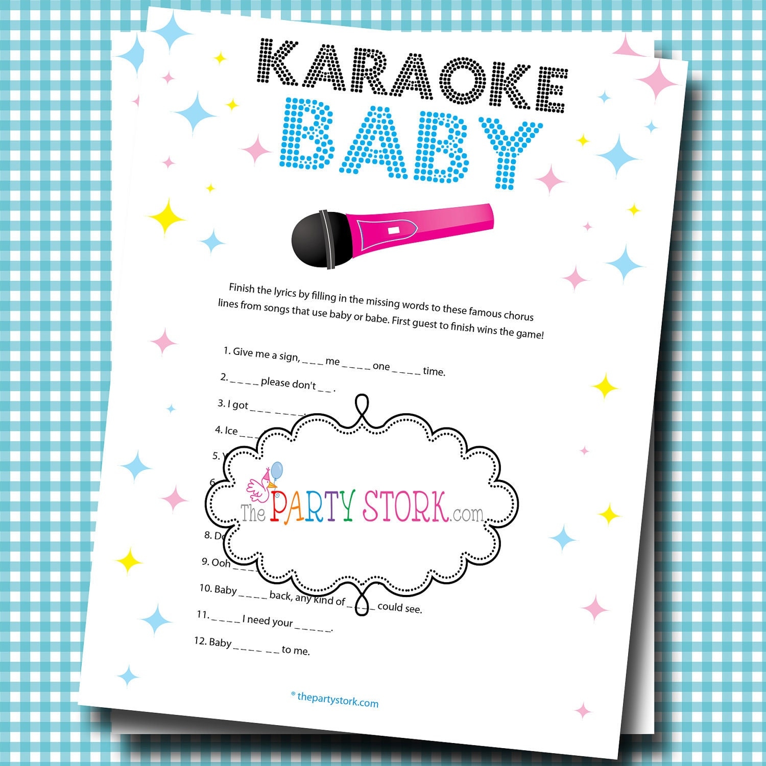 karaoke baby shower game printable games by the party stork ideas