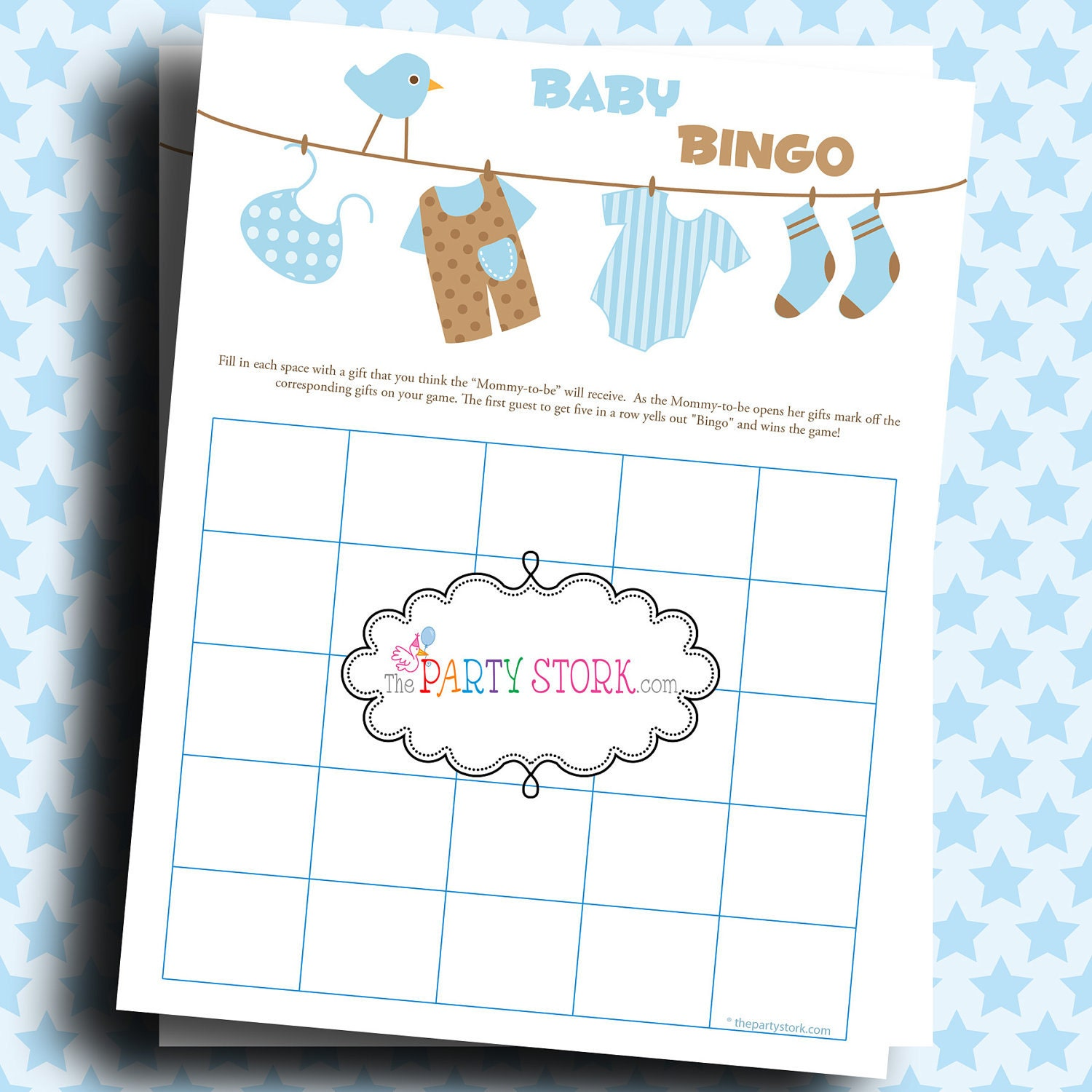 Baby boy shower gift bingo game baby laundry printable more zoom negle Choice Image