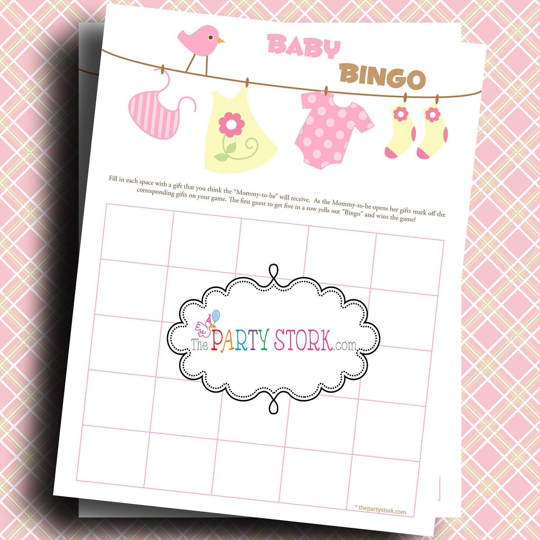 Baby Shower Games Baby Girl Laundry Bingo Game by thepartystork