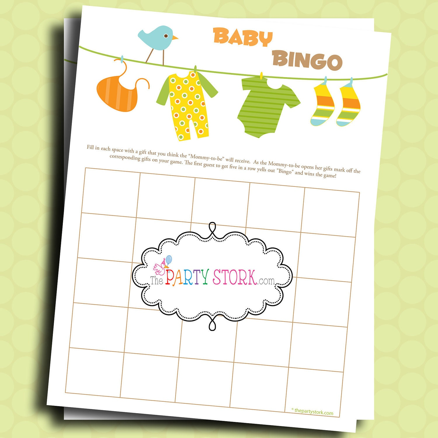 baby shower games bingo game for boy or girl by thepartystork