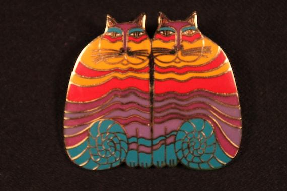 "Laurel Burch,  ""Rainbow Cats"", Vintage Brooch, Multi-colored"