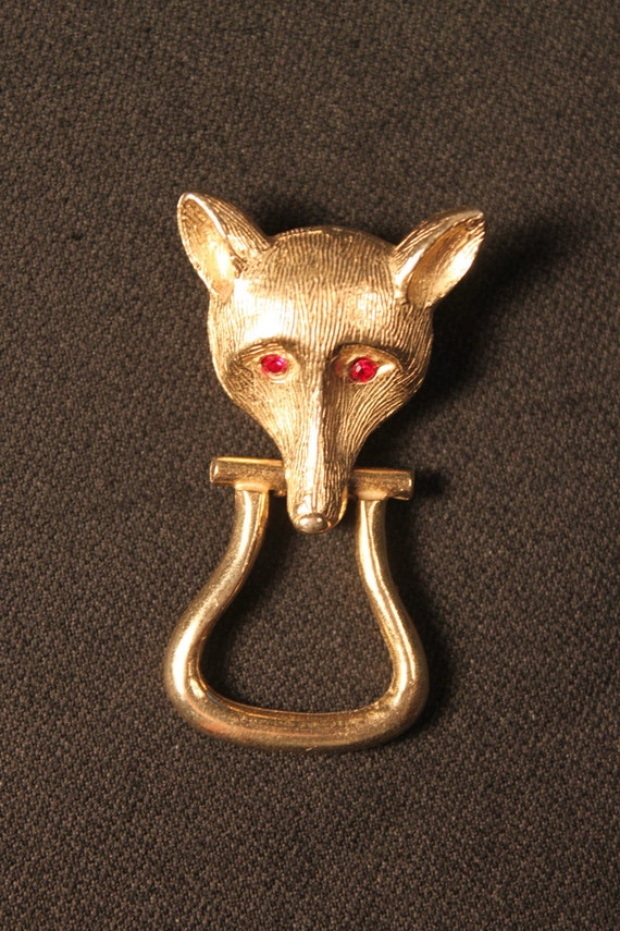 Vintage Brooch, Gold Tone Fox's Head and Dangler Stirrup