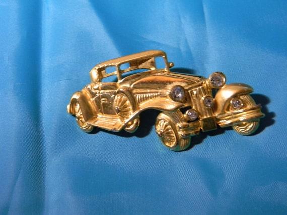 Old Car, Gold Tone,  Rhinestones, Vintage Brooch