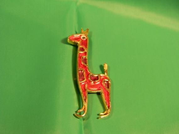 Vintage Brooch, Giraffe, Red and Purple Enamel, Googly Eye