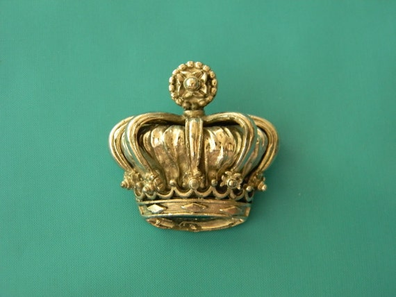 Crown, Vintage Brooch, Silver Tone, Ornate, Royal