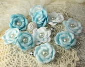 Prima Fabric Flowers Blue Ice Audrey Rose Collection 546700