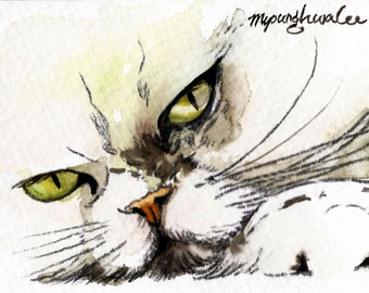 ACEO Limited Edition 9/10- I'm Your Man, Animal art print of an original watercolor painted by Anna Lee, Gift idea for animal lovers